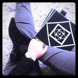 Handwoven Tote Bag, Black and White Print
